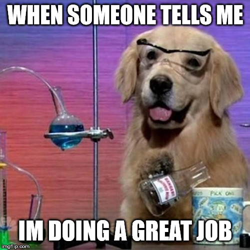 meme of a golden retriever smiling with goggles on surrounded by science equipment. the text on top says, when someone tells me im doing a good job.